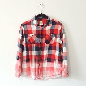 Upcylced Bleached Plaid Shirt